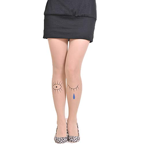 - Women Sexy Charming Eyes Pattern Fishnet Pantyhose Tattoo Stockings Pantyhose Opaque Footed Pantyhose Tights, Nude M