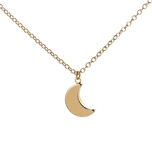 SENFAI Charm Irish Celtics Moon Necklace Elegant Crescent Moon Necklace Plain Half Moon Pendant Necklaces (gold) (Celtic Moon Necklace)