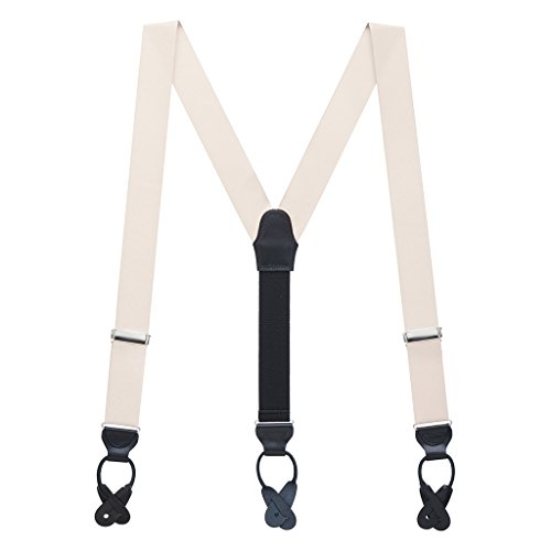 Suspender Store Mens Ivory Grosgrain BUTTON Suspenders