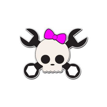 Pink Skull Graphics - Skull Crossbones Pink Bow Wrench - Car, Truck, Notebook, Bumper, Window Vinyl Sticker