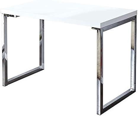 Lounge-Zone Estación de Trabajo Bauhaus Diseño Escritorio York Blanca Muy Brillosa Marco de Metal Cromado Pc Mesa Laptop Mesa de Trabajo Home Oficina Mesa 120x60cm Oficina Mesa #15169: Amazon.es: Hogar