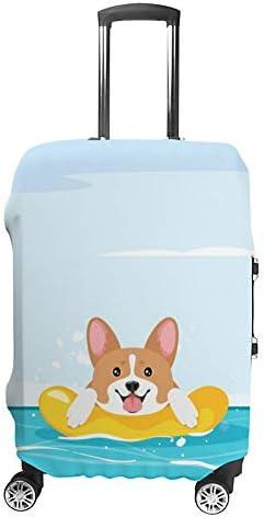スーツケースカバー トラベルケース 荷物カバー 弾性素材 傷を防ぐ ほこりや汚れを防ぐ 個性 出張 男性と女性海で泳ぐコーギー