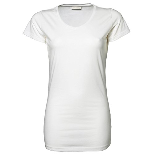 Cotton Extra Long T-shirt - Tee Jays Ladies Stretch Extra Long Short Sleeve T-Shirt (2XL) (White)