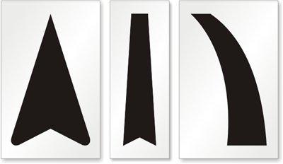 High Arrow, Straight Arrow Line, Curved Arrow Line Stencil