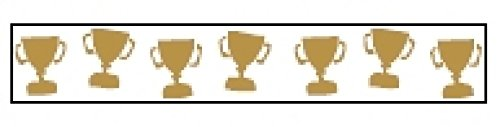 15mm Celebrate Satin Trophy Cup Ribbon Gold/White - per 3.5 metre roll - Cup Trim Trophy Trim