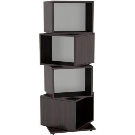 Atlantic 4-Tier Rotating Cube Multimedia Storage Tower - Espresso - Atlantic Media Cube
