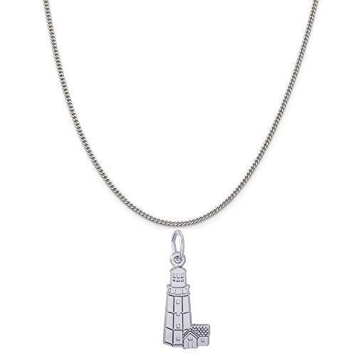 (Rembrandt Charms Sterling Silver Montauk, NY Lighthouse Charm on a Curb Chain Necklace, 20
