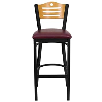 Flash Furniture HERCULES Series Black Slat Back Metal Restaurant Barstool – Natural Wood Back, Burgundy Vinyl Seat