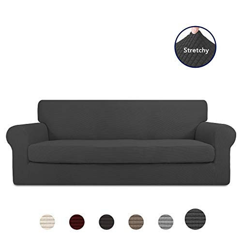 PureFit 2 Pieces Stretch Slipcover for 3 Cushion Couch - Spandex Jacquard Non-Slip Soft Fitted Sofa Couch Cover, Washable Furniture Protector with Non Skid Elastic Bottom for Kids (Sofa, Dark Gray)