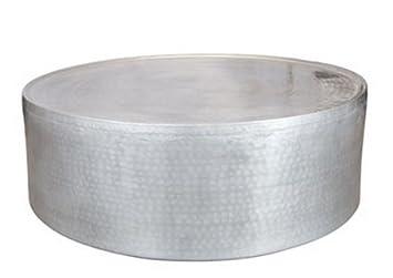 fe121b4d1b64f1 DESIGN FURNISHINGS-Coffee Tables Rond Effet martelé Aluminium Table Basse