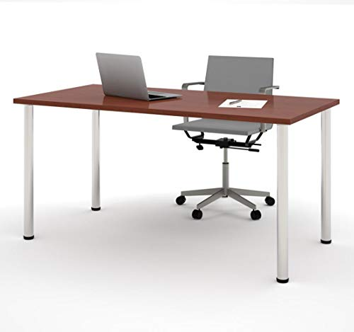 Bestar 65862-39 Table with Round Metal Legs, 30 x 60, Bordeaux ()