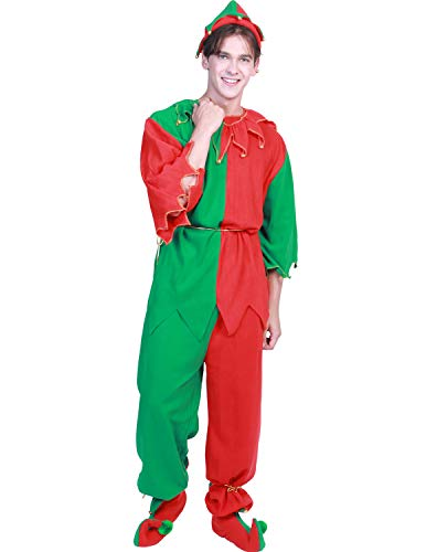 Quesera Men's Elf Costume 7 Pieces Unisex Adult