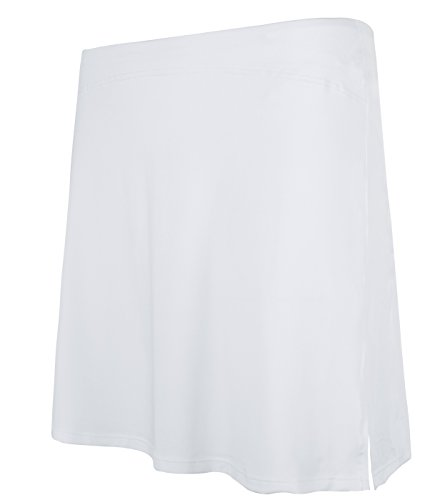 slimour Women Modest Running Skirt Travel Skirts with Pocket Swim Skirt High Waist with Shorts White M