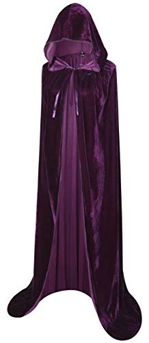 BIGXIAN Extra Long Hooded Velvet Cloak Halloween Christmas Fancy Cape Purple -
