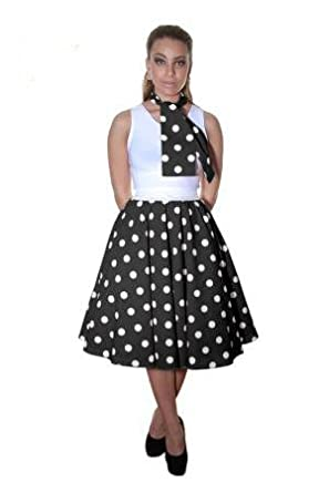 b94d8835abbcf Girls Rock and ROLL Polka DOT Skirt   Scarf Fancy Dance Party Dress Costume  (5-10 Years