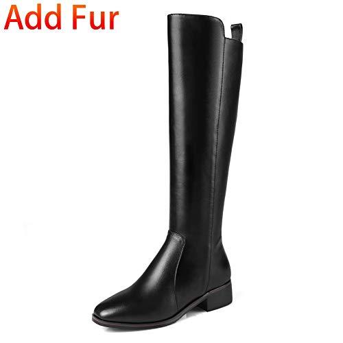 De Marque With En Genou 42 Hoesczs Black Femme Plus Fur Au 33 Chaussures Taille Cuir Véritable Vache La Bottes Femmes nk8wP0OX