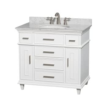 Wyndham Collection Berkeley 36 Inch Single Bathroom Vanity In White With  White Carrera Marble Top With White Undermount Oval Sink And No Mirror