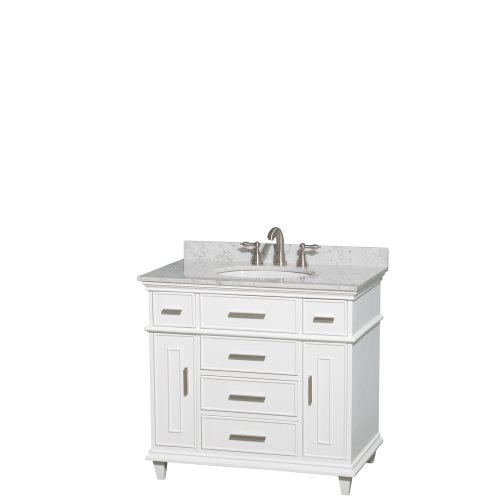 Cheap Wyndham Collection Berkeley 36 inch Single Bathroom Vanity in White with White Carrera Marble Top with White Undermount Oval Sink and No Mirror