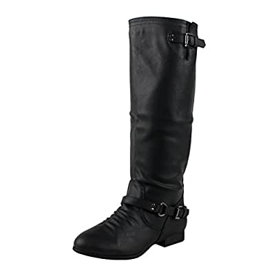 Top Moda Women's COCO 1 Knee High Riding Boot,6 B(M) US,Premium Black