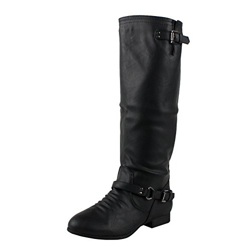 COCO 1 Womens Buckle Riding Knee High Boots,Coco-01v5.0 Black 9 (Womens Boots Black)