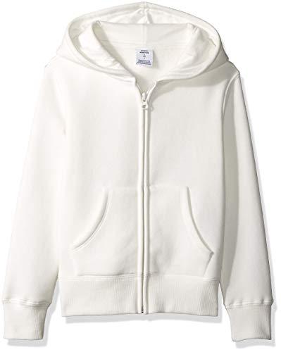 Amazon Essentials   Girls' Fleece Zip-up Hoodie, White XL (12)