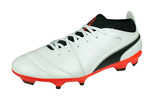 PUMA One 17.3 AG Mens Leather Soccer Boots/Cleats-White-8.5