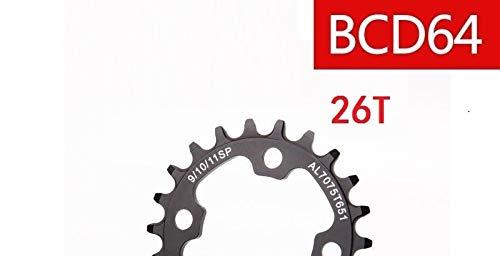 FidgetFidget Circle Bicycle Chainring BCD64 Narrow Wide N/W Tooth 4 Bolts 22T 24T 26T 28T Black 64 mm 26t ()