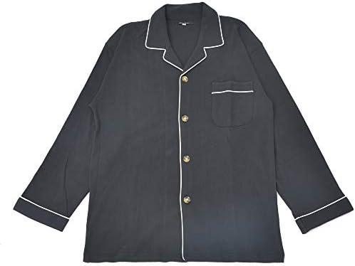 【Ys factory】 メンズ パジャマ 無地 長袖 前開き 100% コットン 上下セット ルームウェア 部屋着