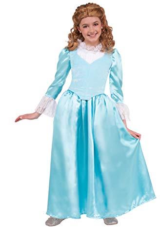 Forum Novelties Kids Colonial Lady Costume, Blue, Large -
