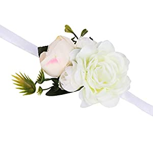 VEIDO Wrist Corsage Wrist Flower for Wedding Bridesmaid Party Prom Wristband Flower Corsage02 (White) 107