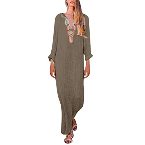 Kimono Gold Foil - ♛TIANMI Dress for Women,Summer Casual Printed Sleeveless V-Neck Maxi Dress Hem Baggy Kaftan Long Dress