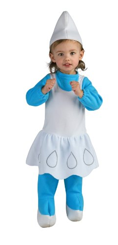 (Girls The Smurfs Movie Smurfette Romper Costume, Blue, 6-12)