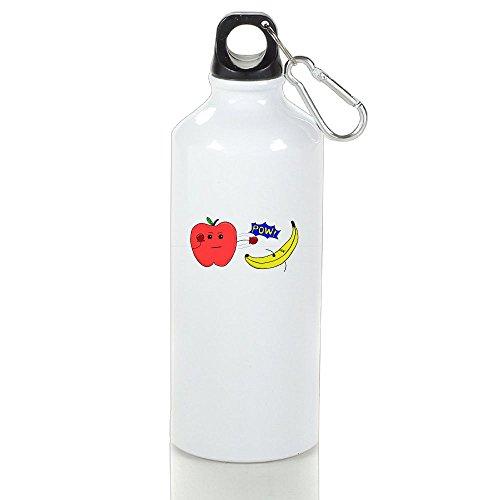 Drosp Apple Pk Banana White Aluminum Sports Water Bottle, Great For Outdoor And Sport Activities Sealed Plastic Leak-proof Screw Top 500ml (Make Banana Split Costume)