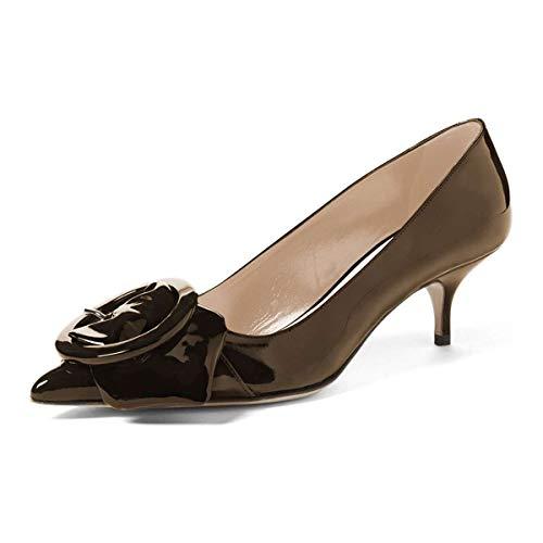 YDN Women Elegance Low Kitten Heel Pumps Pointy Toe Slip On Patent Buckle Basic Office Dress Shoes Chocolate 9