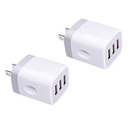 Wall Charger Plug, 3 Port Multi USB Charger, Wall Charger Adapter, 3.1A/5V USB AC Adapter Wall Charger Brick Cube Box Compatible with iPhone Xs XS Max XR X 8 7 Plus, iPad Pro Air Mini, Samsung Galaxy