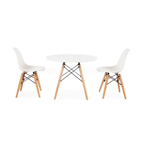 Eames Style Kids Round White Table & 2 Kids DSW Chairs – Orange