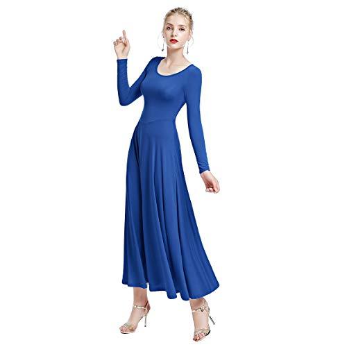 Praise Lyrical Dance Dress, Women Adult Prom Ballroom Dance Dresses Modern Smooth Waltz Tango Latin Competition Swing Skirt Lady Big Girl Christian Festivals Salsa Dancing Costumes Royal Blue L