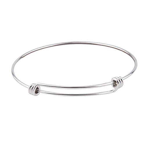 [KUIYAI Blank Expandable Stainless Steel Wire Bangle Bracelet (1 piece)] (Expandable Stainless Steel Bracelet)