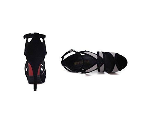 Zhhzz Nähte Sandalen mit Geometrische Komfort Heel Super Sandalen Mouth Muster Fine Schuhe High Sexy Heel Solide Fish Ladies Leder Schwarz LIANGXIE Stilvollen wqRvOO