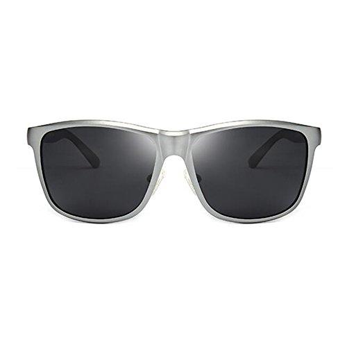 WYYY Protección Gafas Cuadrada Libre Sol Caja De Gris Anti UVA De 100 Protección Retro Hombres Gafas Color Aire Solar Polarizada Gafas UV Negro Luz Clásico Conducción RRdwrzq