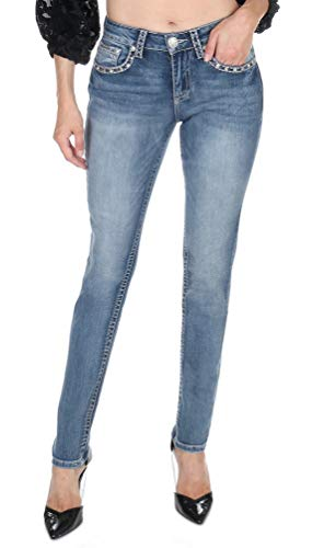 Womens Retro Skinny Jeans Hand-Sanding Whiskering Contrast Stitching Embroidered Reversed Fleur De Lis Back Pockets Rhinestone S586-PB Size -