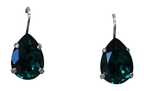 Mariana Dark Green Teardrop Swarovski Crystal Drop Earrings 205 ()