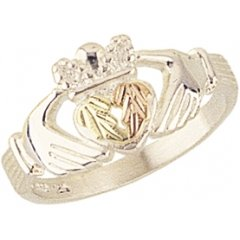 Beautiful! Sterling-silver Yellow-gold Black Hills Gold Women's Claddagh Ring Size 6