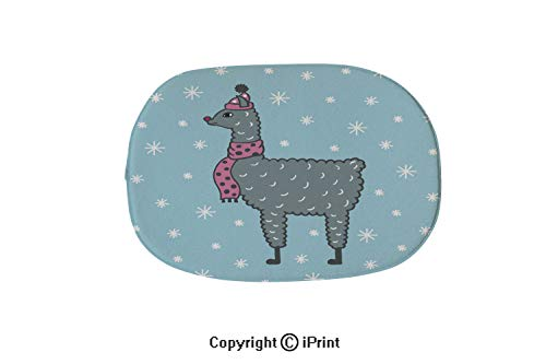 Soft Oval Bath Mat or Rug Place in Front of Shower,Vanity,Bath Tub,Sink and Toilet,Cute Hand Drawn Illustration of a lama in a Cap and a Scarf Blue Background with Snowflakes,19.7