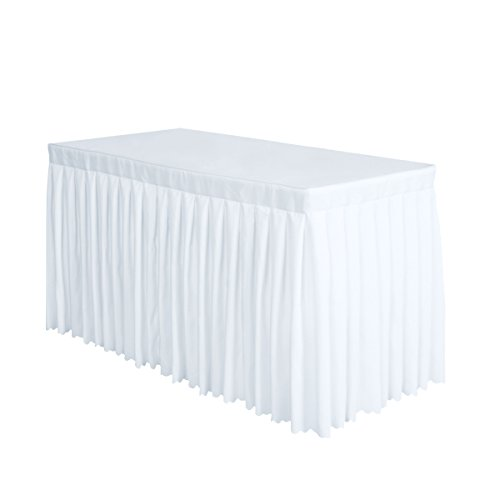 Surmente Tablecloth 14 ft Polyester Table Skirt for Weddings, Banquets, or Restaurants(White) ... ...