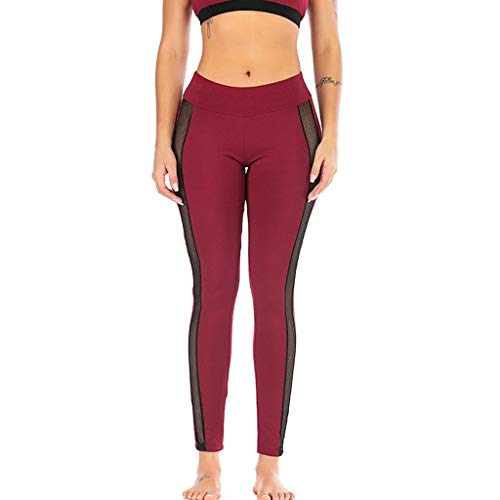 iHPH7 Leggings Women's High Waisted Yoga Pants Fashion Women Mid Waist Solid Color Yoga Pant Perspective Running Sport L -