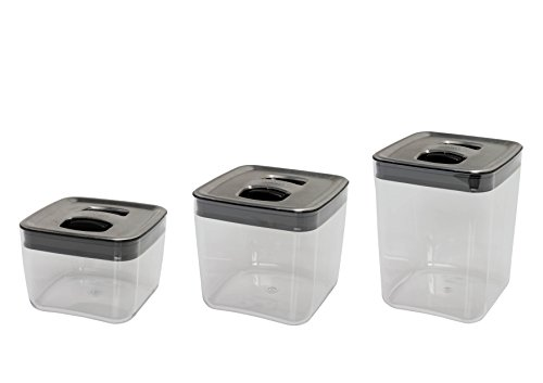 Click Clack Cube Storage Containers with Stainless Steel Lids, Set of 3 (Click Clack Canister)