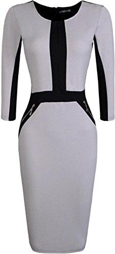 Jeansian Vestido De Temperamento Te Tendencia De Las Mujer Women Trend Temperament Dress WKD176 Gray