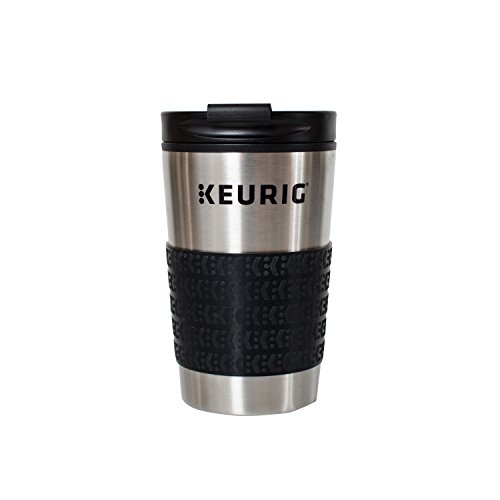 Steel Coffee Travel Mugs - Keurig 12oz Stainless Steel Insulated Coffee Travel Mug, Fits Under Any Keurig K-Cup Pod Coffee Maker (including K-15/K-Mini),  Silver