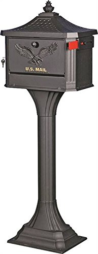 (SOLAR GROUP PED0000B Locking Pedestal Mailbox Post Combo, 18
